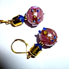 Pink wedding cake and sapphire earrings. FREE SHIPPING