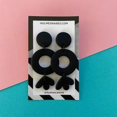 Three Tier Dangle Drops BLACK - Polymer Clay Earrings