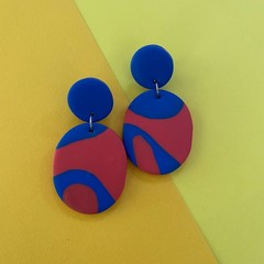 Red & Blue Colour Block - Polymer Clay Earrings