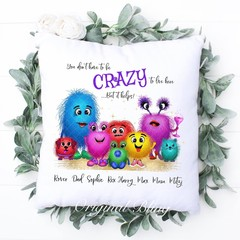 Personalised Monster Family Cushion