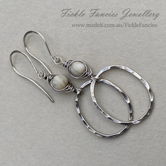 Hammered Hoop and Herringbone Weave Sterling Silver Lavender MOP Earrings