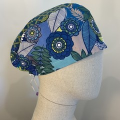 Colourful one of a kind reversible Scrub Hat - Deep Aqua Flowers/Petal - Petite
