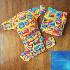 Reusable Cloth Nappy - Fast Food in Yellow