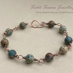 Aqua Terra Jasper and Copper Wrapped Bracelet