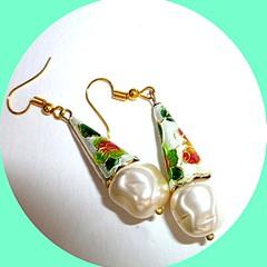 Enamel and Czech glass pearl earrings. FREE SHIPPING