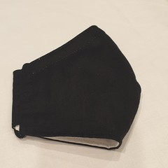 FACE MASK 3PLY COTTON PLAIN BLACK