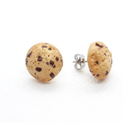 Chocolate Chips cookies STUDS  earrings, biscuit earrings, polymer clay