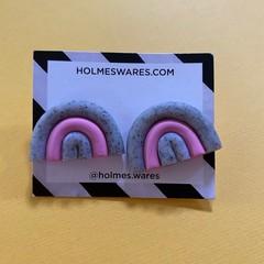 Rainbow stud earrings - Pink & Grey