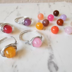 Colourful Gemstone style Acrylic Bead Wire wrapped ring , Pink Purple Red Brown