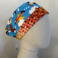 Colourful one of a kind reversible Scrub Hat - Planes/Geometry