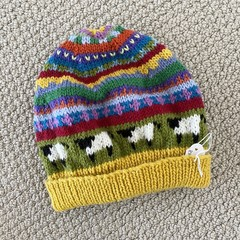Yellow sheep Beanie - to fit size 4-8 years -hand knitted
