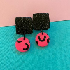 Pink Smiles  - Polymer Clay Earrings