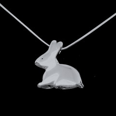 Chocolate Bunny - Handmade Solid Sterling Silver Pendant with Snake Chain