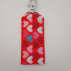 Red heart print chap stick / lipstick holder