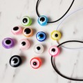 Acrylic round Evil eye Cord bracelet , Blue Green Clear Black Pink Purple Yellow