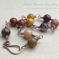 Mookaite and Copper Wrapped Bracelet