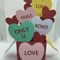 Valentines day candy conversation hearts box card