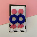 Three Tier Dangle Drops PINK & BLUE - Polymer Clay Earrings