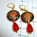 Enamel and topaz earrings. FREE SHIPPING