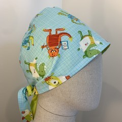 Colourful one of a kind reversible Scrub Hat - Citrus Monster