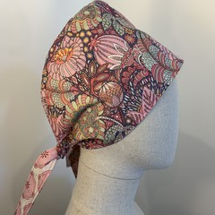 Colourful one of a kind reversible Scrub Hat - Pink medallion/Paisley