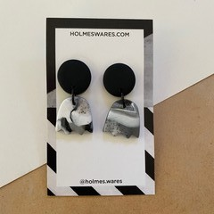Black andWhite Mix Dangles  - Polymer Clay Earrings
