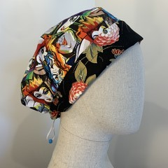 Colourful one of a kind reversible Scrub Hat - Villians/Flowers