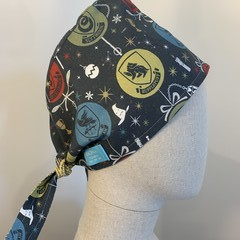 Colourful one of a kind reversible Scrub Hat - Harry Potter/yellow swirl