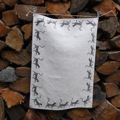 "Block printed 100% European Flax Linen Tea towel | ""Naughty Kitty""!"