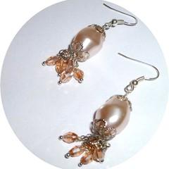Peach Czech pearl earrings. FREE SHIPPING