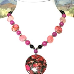 Genuine Pink SEA SEDIMENT JASPER and AGATE Beaded Necklace.