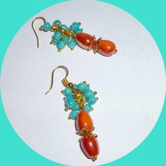 Turquoise blue and coral/orange earrings. FREE SHIPPING