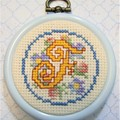 Cross Stitched Floral Initials
