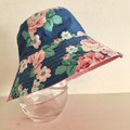 Girls summer hat in blue floral fabric