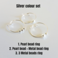 Dainty Pearl beaded anxiety wire rings set , Size adjustable , Gold Silver