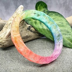 Rainbow Resin Bangle  - faceted stalagmite bangle