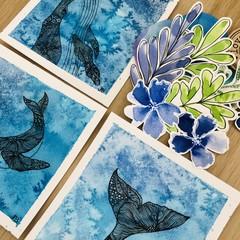 Sea singers - original mini watercolours