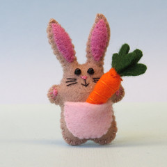 Rabbit with a Carrot, miniature felt bunny, Easter gift, Easter rabbit
