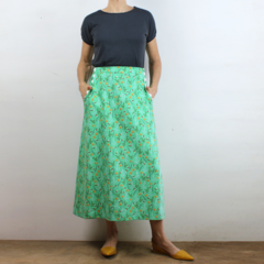 Busy Bee Cotton A-Line Skirt with Flat Front, Elastic Waist and Pockets