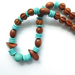Dreams turquoise blue and wood  statement necklace