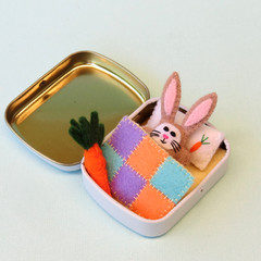 Miniature felt rabbit play set, bunny in a tin bed, Easter