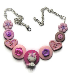 Girls pink unicorn necklace