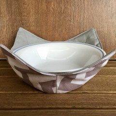 Microwave Bowl Holder - Grey Chevron