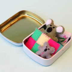 Miniature felt koala bear play set, teddy in a tin bed, Australia Day