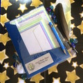 Rainbow Handmade Paper Writing Set in Blue Folio with Pen