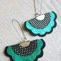 Scalloped Fan, Genuine Leather Earrings, Black/Silver/Aqua