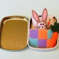 Miniature felt rabbit play set, bunny in a tin bed, Easter