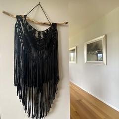 Black night macrame wall hanging
