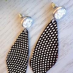 Druzy Stud, Genuine Leather Earrings, Black/Silver