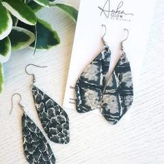 Crocodile Print, Genuine Leather Dangle Earrings, Silver